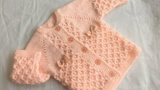 Hand Knitted new born baby cardigan (sweater) size (0-3) detailed guide