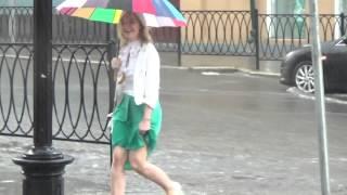 Ливень в Казани (ул Баумана) во время и после (видеорепортаж)