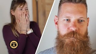 Beard Company Founder Shaves 8 Year Beard & Wife's Reaction is Priceless