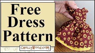 Free Doll Clothes Patterns: Sunflower Harvest Dress For Fashion Dolls Like Barbie