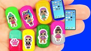 18 Лайфхаков для Барби! Мини-самсунг, сумки, тени, лак для ногтей, наушники, и ещё!
