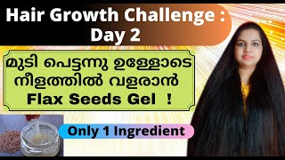 Hair Growth Challenge : Day 2/ Flax Seed Gel For Hair Growth/ 100% Natural Home Remedy For Hair Care