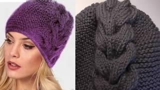Модная шапка в этом году . Шапка спицами