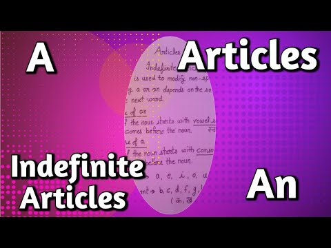 Articles | How to Learn Articles in English Grammar | Indefinite Articles a\an |