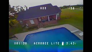 Luckofthefall fpv: AcroBee Lite Backyard Flight and Crash Into Pool