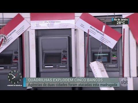 SBT Brasil - Quadrilhas explodem cinco agências bancárias em São Paulo