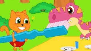 Familia de Gatos - Gatos Cepillan Dientes de Dinosaurio Dibujos animados para niños