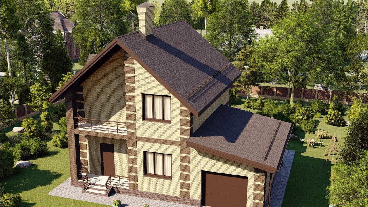 Проект дома из газобетона с мансардой и гаражом
