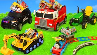 Fire Truck, Tractor, Excavator, Police Cars & Train Ride On | Toy Vehicles Surprise for Kids
