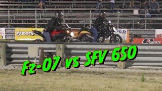 1/8th mile Showdown!! Yamaha Fz-07 VS Suzuki Gladius SFV 650