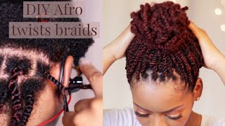 Afro Kinky Twist Braids On Natural Hair