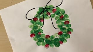 DIY Christmas Crafts For Kids | Finger Painting Christmas Wreath