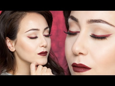 rote Lippen & roter Lidstrich   einfaches Augen Make Up   Tutorial   Hatice Schmidt