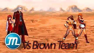 【MUGEN】 Red Team Vs Brown Team, No Damage (Ft. Dante, Silvy, Rin Rin & UM XI Naomi)