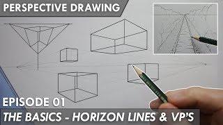 PERSPECTIVE DRAWING 01 - THE BASICS - Horizon Line, Vanishing Points 1,2 & 3