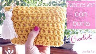 Neceser De Ganchillo En Punto Piña Con Cremallera. Crochet Bag In Pineapple With Zipper.