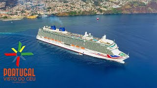 Britannia ship cruise aerial & Cristiano Ronaldo Hotel and Museum in Funchal Madeira