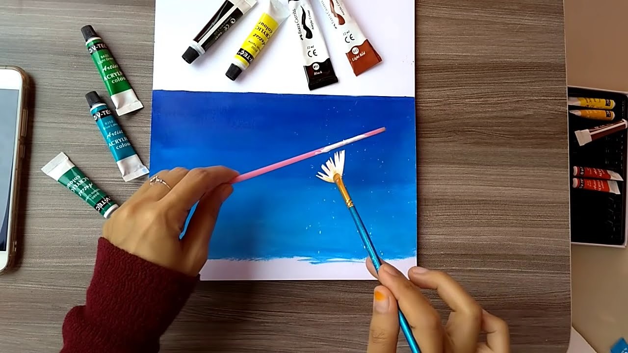 acrylic painting step by step instructions scenary by ris nanda
