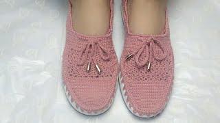 How To Make Crochet Shoes  Tığ Işi Ayakkabı  Zapatos De Ganchillo   شوز كروشيه بنعل للعيد