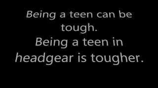 Teenager in headgear