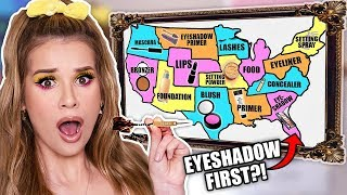 Throwing a Dart at a MAP & Doing My Makeup in the Order it Lands On