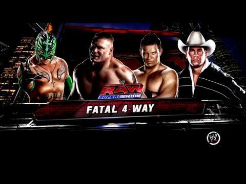WWE 13 Fatal 4-Way IC Title Match: Brock Lesnar VS Miz VS Rey Mysterio VS JBL - RAW 3 Main Event