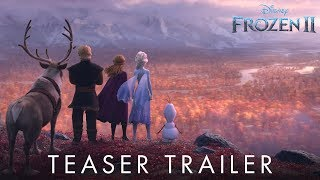 "Watch the new teaser trailer from Disney's ""Frozen 2.""  From the Academy Award®-winning team—directors Jennifer Lee and Chris Buck, and producer Peter Del Vecho—and featuring the voices of Idina Menzel, Kristen Bell, Jonathan Groff and Josh Gad, and the music of Oscar®-winning songwriters Kristen Anderson-Lopez and Robert Lopez, Walt Disney Animation Studios' ""Frozen 2"" opens in U.S. theaters on Nov. 22, 2019."