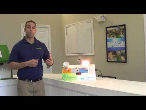 Comfort Specialist Matt Cimo, detailing the benefits of using LED's to light your home.