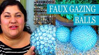 DIY Faux Gazing Balls 💵 Easy Cheap DIY Garden Globe With Dollar Store Craft Supplies 🌼 Yard Globe