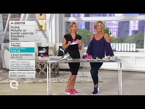 PUMA Metallic or Suede Lace-up Sneakers - Vikky on QVC
