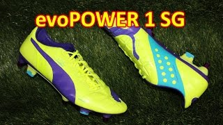 Puma evoPOWER 1 Mixed Sole SG Fluo Yellow/Prism Purple - Unboxing + On Feet