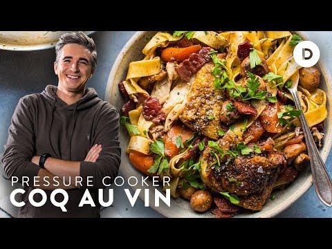 Tender Chicken Stew- COQ AU VIN! Pressure Cooker INSTANT POT Recipe!