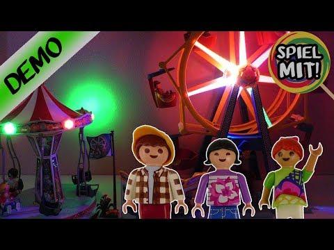 Playmobil Kirmes Aufbau   Riesenrad & Ketten Karussell Freizeitpark mit bunten Lichtern   Summer Fun