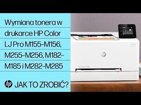 Wymiana tonera w drukarce serii HP Color LaserJet Pro M155–M156, M255–M256, M182–M185 i M282–M285