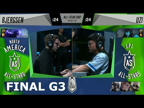Bjergsen Ryze vs Uzi Kalista   Game 3 Grand Final 1v1 All-Stars 2017   NA vs CN G3