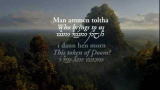 Lothlórien (with Quenya and Sindarin lyrics in Tengwar) - Lord of the Rings: Fellowship Of The Ring