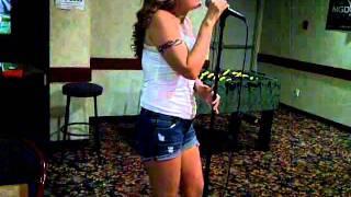 My mom singing Karaoke - Julie Roberts Break Down Here