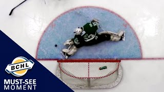 Must See Moment: Nathan Airey flashes out the left pad for the huge save