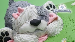 Old English Sheepdog Cake Tutorial, Birthday Cake Idea, Dog