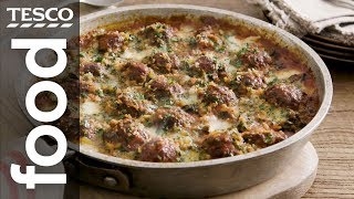 Cheesy meatball gratin