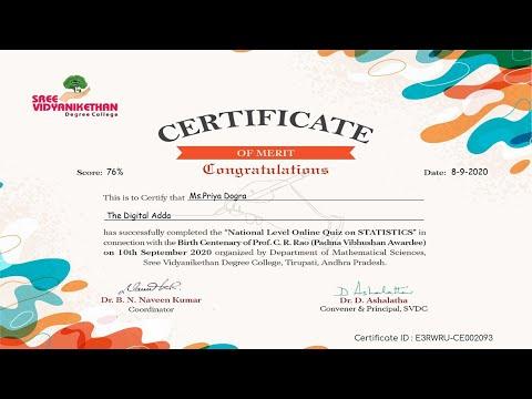 National Level Online Quiz Certificate on STATISTICS - Certificate in ...
