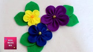 Felt Flower #3 - DIY : How To Make Easy Felt Flower / Spring Crafts.