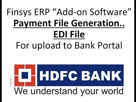 Finsys ERP with HDFC NEFT RTGS Cheque File upload Accounts Module Bank payment Entries