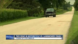 Two dead in motorcycle vs. lawnmower crash