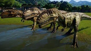 3 Giganotosaurus vs 3 Carcharodontosaurus - Jurassic World Evolution (1080p 60FPS)