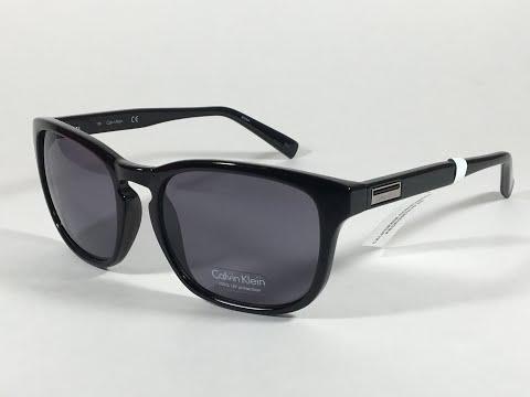 a2bd34cab57 New Authentic Calvin Klein R720S 001 Keyhole Rectangle Sunglasses Black  Gloss Gray Lens