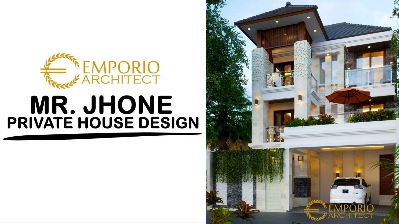 Video 3D Desain Rumah Villa Bali 3 Lantai Bapak Jhone di Palembang