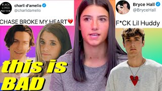 Charli Damelio SHADES Lil Huddy after CHEATING, Bryce Hall RESPONDS to Nessa Barrett KISSING Chase!!