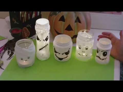 Basteln mit Kindern - Glasgeister/ Glasmumien - Windlichter Deko für Halloween