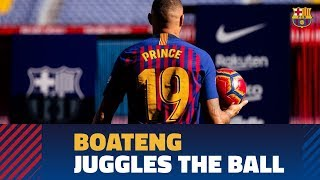 Kevin-Prince Boateng touches the ball for the first time as a Barça player